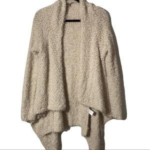 COZY CASUAL Comfy Fuzzy Open Long Duster Cardigan Ivory S/M